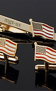Personalized Gift Men's Engravable Gold Plain American USA Flag Pattern Cufflinks and Tie Bar Clip Clasp(1 Set)