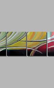 met de hand geschilderd olieverf op doek kunst aan de muur abstracte hedendaagse kleur melodie vier panel klaar te hangen