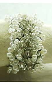 真珠の装飾ナプキンリング、アクリル、1.77inch、12のセット