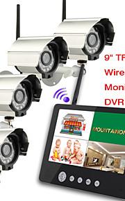 Bebé 2.4G cuatro cámaras de vídeo de audio de 9 pulgadas supervisa el sistema de seguridad dvr quad de 4 canales con ir luz de noche