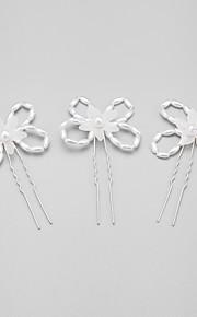 Celada Pasador de Pelo Boda/Ocasión especial Aleación/Perla Artificial Mujer/Niña de flor Boda/Ocasión especial 3 Piezas