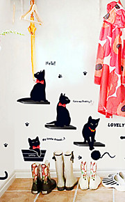 gatos pretos quentes pescar removível adesivos de parede decoração da casa adesivo decalques arte família