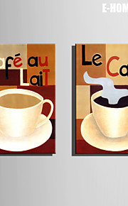 E-HOME® Stretched Canvas Art Coffee Decorative Painting Set of 2
