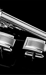 Men's Engravable Silver Plain Wedding Pattern Cufflinks and Tie Bar Clip Clasp(1 Set)
