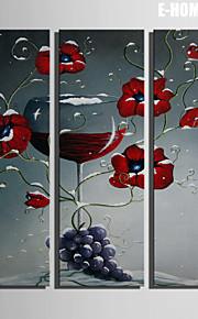 e-Home® venytetty kankaalle taidetta punaisia kukkia ja viiniä koriste maalaus sarja 3