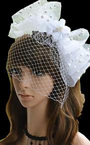 Women's Pearl/Rhinestone/Net Headpiece - Wedding/Party White Bow-knot Flowers