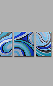 met de hand geschilderd olieverf op doek kunst aan de muur abstracte hedendaagse lichtblauw vier panel klaar te hangen