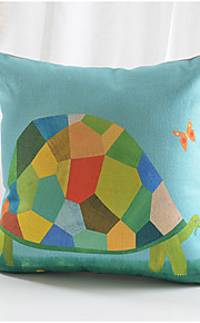 Colorful Turtle Pattern Cotton/Linen Decorative Pillow Cover