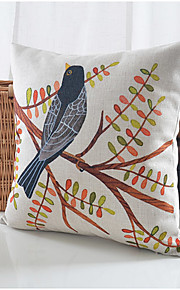 Bird & Tree Cotton/Linen Decorative Pillow Cover
