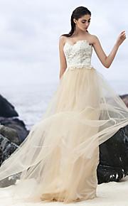 Lanting Bride® Trapèze Robe de Mariage  Colorées Traîne Brosse Coeur Dentelle / Tulle avec