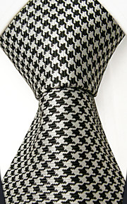 S9  Classic Dress Men's Neckties Black White Houndstooth 100% Silk Business Handmade