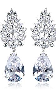 Kristall Örhängen Cubic Zirconia Örhänge Dam Cubic Zirconia/Mässing/Förgyllt silver