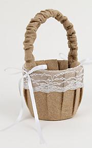 Flower Basket In Beige Linen With Lace Flower Girl Basket