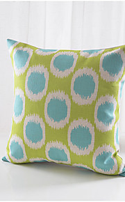 Green & Blue Circles Pattern Cotton/Linen Decorative Pillow Cover