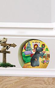 adesivos de parede do estilo decalques de parede de Santa rato pequeno da parede do furo adesivos pvc