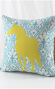 Country Horse Pattern Cotton/Linen Decorative Pillow Cover