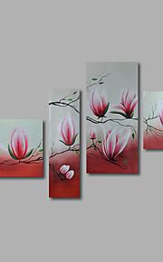 met de hand geschilderd olieverf op doek kunst aan de muur abstracte bloemen roze magnolia vier panel klaar te hangen