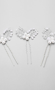 Women's/Flower Girl's Crystal/Alloy/Imitation Pearl Headpiece - Wedding/Special Occasion Hair Pin 3 Pieces