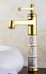 מיקסר פליז Gloden מעבר חם וקר ידית אחת גבוהה בחדר אמבטיה ברז כיור אגן