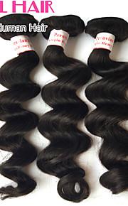"""4шт лот 8 """"-30"""" перуанский девственные волосы свободная волна натуральный черный человек волос необработанные пучки пролить&клубок"""
