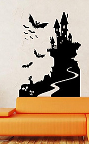 벽 스티커 벽 데칼 스타일의 할로윈 박쥐 성 PVC 벽 스티커
