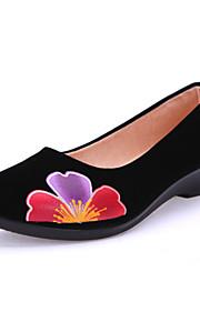 Women's Shoes Fabric Low Heel Comfort/Round Toe/Open Toe Flats Outdoor/Office & Career/Casual Black/Blue/Burgundy