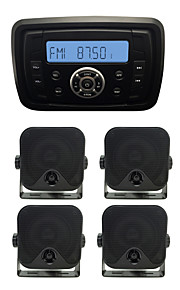 Waterproof Marine Radio Stereo ATV UTV Audio Receiver+2Pairs 3.5 Inch Black Waterproof Speakers