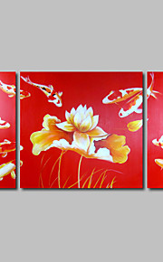 Hand-Painted Oil Painting on Canvas Wall Art Red Koi Fishes Water Lily Fengshui Three Panel Ready to Hang