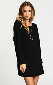 Women's Solid White / Black Dress , Casual / Plus Sizes Round Neck Long Sleeve