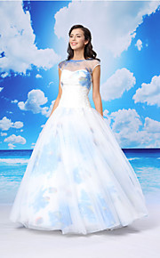 Ball Gown Formal Evening Dress - White Floor-length Jewel Organza / Satin