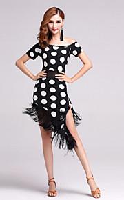Latin Dance Dresses Women's Performance Polyester / Lycra Tassel(s) / Polka Dots 1 Piece Red / White