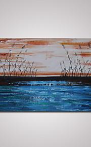 håndmalede abstrakt blå landskab med waterweed oliemaleri på lærred klar til at hænge