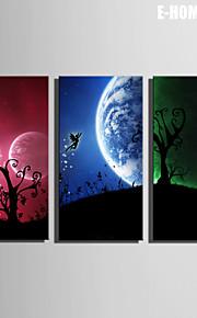 E-Home® Leinwand Kunstelfen unter dem Mond Dekoration Malerei Set von 3