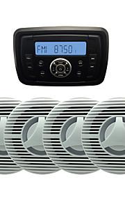 Waterproof Marine Radio Stereo ATV UTV Audio Receiver+2 Pairs 6.5 Inch Waterproof Speakers