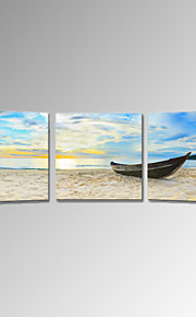 VISUAL STAR®3 Panel Sea Scenery Canvas Wall Art for Decoration Beach Boat Picture Stretched Canvas Printing
