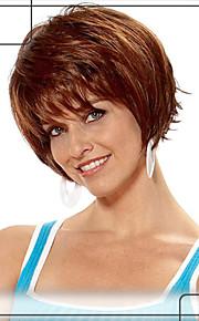 charmiga korta vågiga mänskliga hår Capless peruker jungfruligt remy mono topp hår peruk