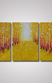 3 paneler abstrakte gule trær med fallende løv på veien oljemaleri på cavnas klar til å henge