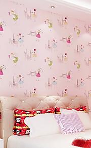 New Rainbow™ Wallpaper Princess Bedroom Background Art Deco Wall Covering , Art Deco Non-woven Paper