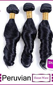 3шт / много перуанских океана девственные волосы волна необработанный перуанских девственных волос человека уток волос