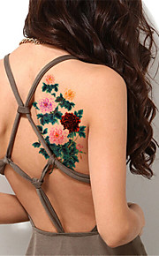 5Pcs/Set Flash Waterproof Color Peony Flower Temporary Tattoo Sticker