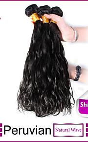 3шт Перу пучки волосков ткет натуральный черный естественная волна утка волос 100% бразильский необработанный уток человеческих волос
