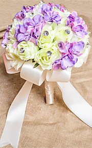 Lilac And Cream Round Roses Bouquets Wedding Flowers