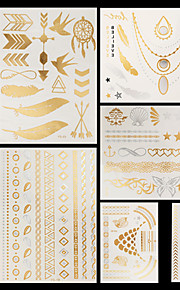 10pcs Body Art Temporary YS Gold Silver Black Flash Metallic Tattoos Sticker Chains Bracelet Necklace Jewelry Waterproof