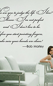 stickers muraux de style de décalques de mur de Bob Marley mots anglais&cite muraux PVC autocollants