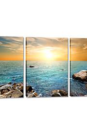 visuelle star®sea coucher de soleil toile tendue impression mur de la plage accrocher l'art prêt à accrocher
