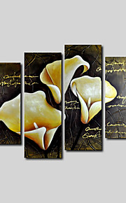 Hand-Painted Oil Painting on Canvas Wall Art Modern Flowers Beige Lily Golden Four Panel Ready to Hang