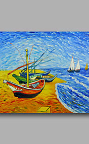 Hand-Painted Abstract Oil Painting Canvas Van Gogh repro Fishing Boats Heavy Oil Home Deco one Panel