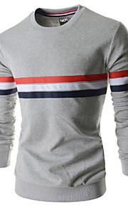 Masculino Camiseta Casual Listrado Elastano Manga Comprida Masculino