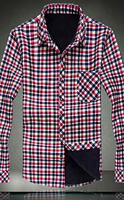 Masculino Camisa Casual / Tamanhos Grandes Xadrez Algodão Manga Comprida Masculino
