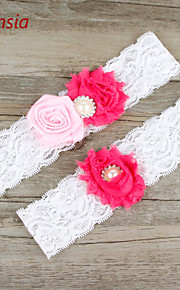 Stretch Satin / Lace Wedding Fashion Garter with Flower /Imitation Pearl